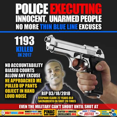 sacramento police execited stephon clark shot him 20 times he was unarmed