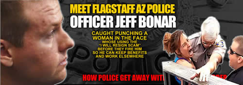 Flagstaff Arizona cop Jeff Bonar punches woman in the face